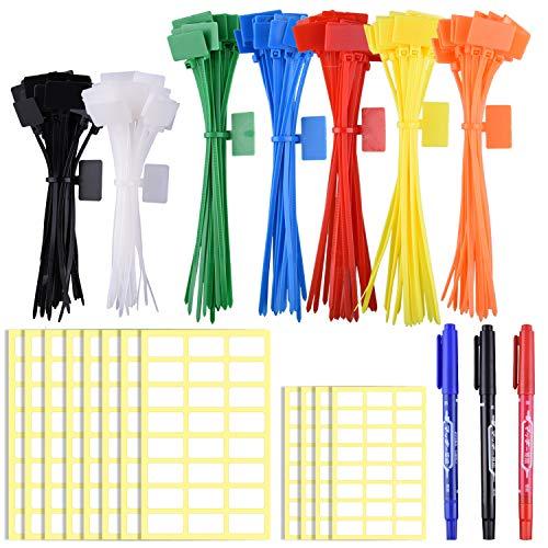 Siquk serie 160 etichette per fascette per cavi colorate in pollici 4/6 pollici marcatura con etichette bianche da 288 pezzi e marcatore a 3 pezzi per gestione cavi, fili e cavi