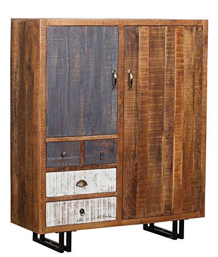 The Wood Times Kommode Schrank Massiv Vintage Look Rustic Mangoholz, FSC Zertifiziert, BxHxT 120x142x40 cm