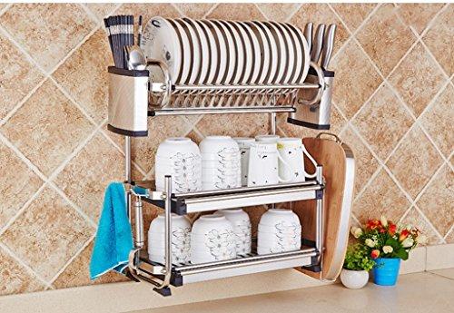 Hyun times Küche-Edelstahl-Schüssel-Wand-hängenden Abfluss-Halter-Küchenbedarf-Speicher-Utensilien-Schüssel-Schüssel-Ess-Stäbchen-Schrank-Kabinett-Regal (Metall-sicherheits-speicher-regal)