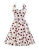 MISSMAO Donna Paragrafo Halter Stile Hepburn retrò anni '50 Abito Abiti Chintz Slim Skirt Stile Pastorale Vintage Vestito L Bianco & Ciliegia