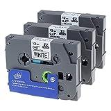 3x Unistar laminiertes Schriftband/Etikettenband (äquivalent zu Brother TZe-231 TZ-231), schwarz auf weiß; 12mm x 8m; für Brother P-touch H105WB, D400, H100LB, D400VP, D500VP, P700, P750W uvm.