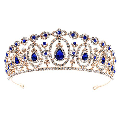 Weimay Strass Hochzeit Stirnbänder Blauer heller Diamant Krone Braut Tiara Kristall Haarschmuck Hochzeit Mode Stirnband Schmuck Dekoration