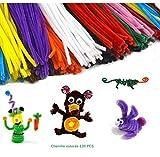 Pfeifenreiniger 120 Stück Chenilledraht farbig sortiert Biegeplüsch für Kinder zum Basteln und Dekorieren