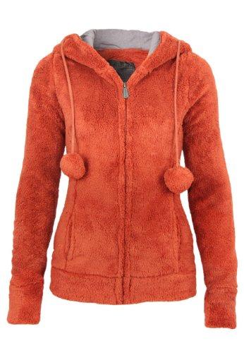 Stitch & Soul Teddy Fleece Jacke mit Öhrchen, Größe:XS;Farbe:Middle Orange