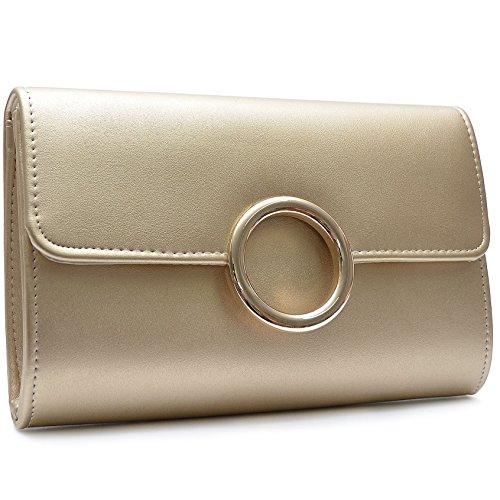 Vain Secrets Damen Umhänge Tasche Clutch Abendtasche in vielen Farben Gold