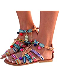 QinMM Sandalias Y Chanclas de Bohemia Playa de Mujer, Plano Sandalias de Interior Zapatos de Verano