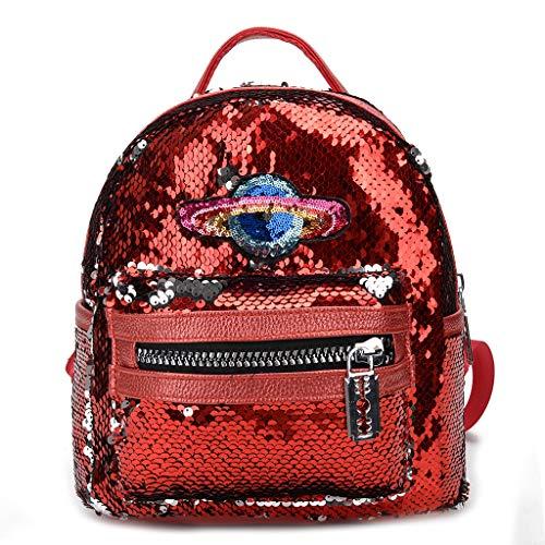 JERKKY Rucksack PU Leder Magie Glitzernden Schultasche Rucksack Daypack für Frauen Mädchen Reisen Outdoor Verwenden Liefert Rot