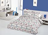 Happy Campers Nautical Red Blue Campervans VW Splitscreen Bay Window 100% Cotton (King (Includes 2 Pillowcases))