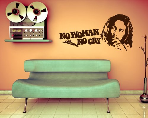 Tattoomaker Wandtattoo Wandaufkleber Bob Marley No Woman No Cry #78B dunkelbraun 180cm x 90cm (RAL8017)