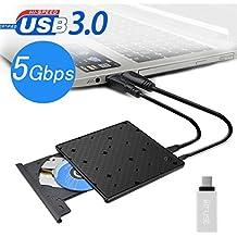 Grabadora DVD / CD externa , Unidad USB 3.0 Ultra Slim Optica Externa para Windows XP / 2003 / VISTA / Win 7/Win 8 /Win10 /Linux ,Mac 10 OS Sistema y Ordenador portátil (Incluye Type-C adaptador)
