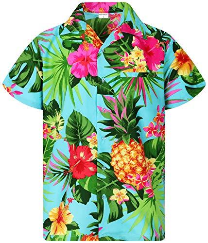 King Kameha Funky Hawaiihemd, Kurzarm, Ananas, Türkis, L