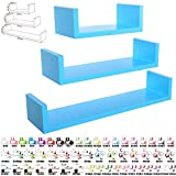 WOLTU RG9239bl-1 3ER SET Schweberegal Wandregal BÜCHERREGAL CD REGAL HÄNGEREGAL HOLZREGAL BOARD BLAU