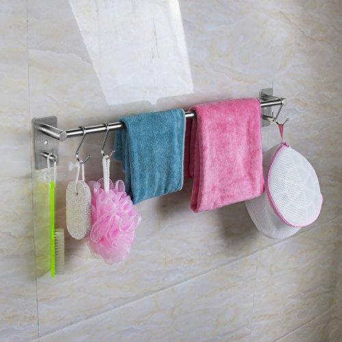 qobobo® V2A Edelstahl Handtuchhalter mit Haken für Badezimmer WC Küche Handtuchstangen Wandmontage Wandhandtuchhalter Handtuchständer Handtuch Halter 55cm/Bohren oder Selbstklebend