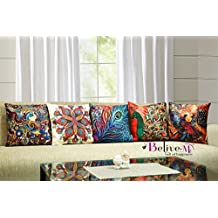 Belive-Me Multicolor 3D Jute Peacock Cushion Covers 24 x 24 inch 60 x 60 cm Set of 5