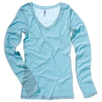 Bella+Canvas Sheer mini rib long sleeve v-neck t-shirt Seafoam Blue L