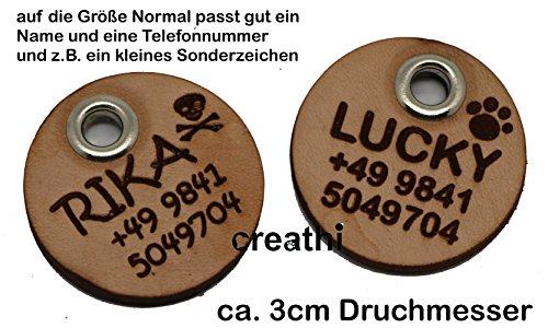 Anhänger rund (Kreis) fürs Halsband personalisiert ECHTES LEDER! Hundemarke ohne geklimper! f. Hundehalsband Katzenhalsband Kette DogTag (Normal) - 3
