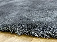 """Soft Touch Shaggy Shag Pile Modern Contemporary Quality Shaggy Rugs in Silver 75 x 150 cm (2'5"""" x 5')"""