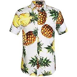 SSLR Camisa Hawaiana Hombre Algodón Manga Corta Casual Estampada de Piña (Small, Blanco)