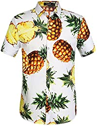 SSLR Camisa Hawaiana Hombre Algodón Manga Corta Casual Estampada de Piña