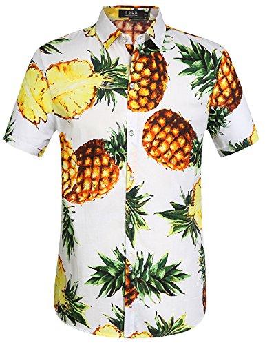 SSLR Camisa Hawaiana Hombre Algodón Manga Corta Casual Estampada de Piña (Large, Blanco)