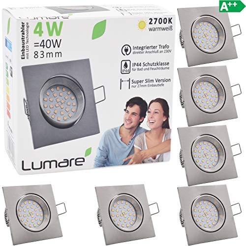 6x Lumare Slim Line Einbaustrahler IP44 mit nur 27mm Einbautiefe! Deckenspot mit 4W 400lm LED Leuchtmodul AC 230V 120° Deckenlampe Einbauspot warmweiß (6er silber/quad)