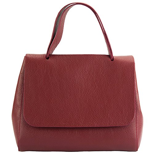 "BORSA A MANO ""GAIA"" IN VERA PELLE DI VITELLO MADE IN ITALY 9111 Rosso scuro"