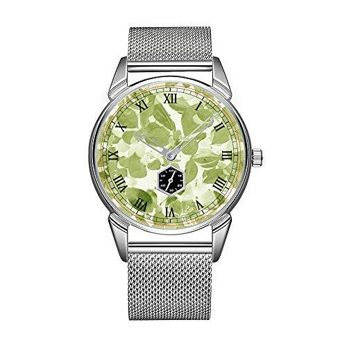 Mode Salbei (Mode Herrenuhr silbernen Edelstahl wasserdicht Uhr Herren Top-Marke Herrenuhr Uhr Salbei grünes Blatt Muster, Vintage inspirierte Uhren)