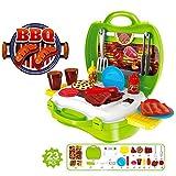 Creation Jouet de Cuisine, 23 pcs Plastic Pretend Play Set de Cuisine Cuisson des Aliments Barbecue Chef de BBQ Garden Party Extérieur Jeux de rôle Toy Set