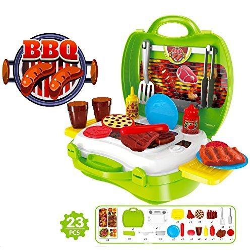 Creation Kitchen Tools Toy, 23 Pcs Plastic Pretend Kitchen Play Set Food Cooking Chef Barbeque BBQ Garden Outdoor Party Role Play Educational Toy Set