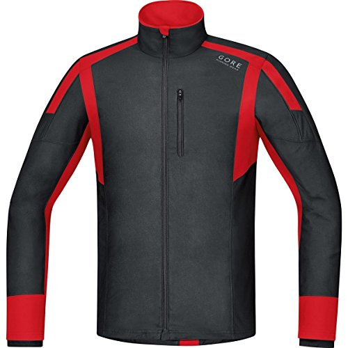 Gore Running Wear Air Windstopper - Camiseta de manga larga para hombre, color negro / rojo, talla S