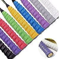 Febbya Tenis Grip, Raqueta Grip 9 Pack Anti Slip Perforado Overgrip Multicolor para Tenis Bádminton Squash Racketball Raqueta y caña de Pescar