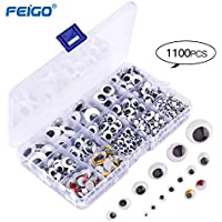 FEIGO Autoadhesivo Ojos Móviles Manualidades Ojos para Muñecos Redondo 1100 Piezas para proyectos de manualidades de 5 mm a 25 mm de tamaños surtidos