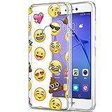 Eouine Funda Huawei P8 Lite 2017, Cárcasa Silicona 3D Transparente con Dibujos Diseño Suave Gel TPU [Antigolpes] de Protector Bumper Case Cover Fundas para Movil Huawei P8Lite 2017 (Emoji)