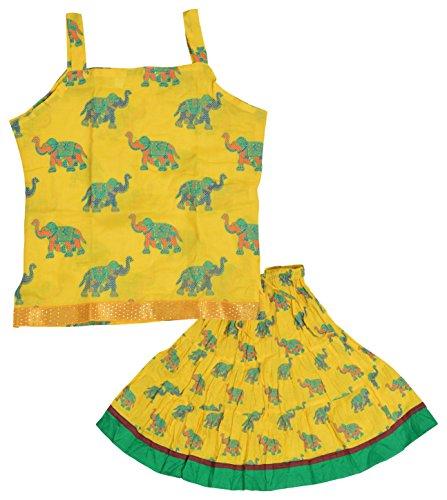 DIAMO Girls' Cotton Lehenga Choli (KID298--3-4 years, Green & Yellow, 3-4 years)