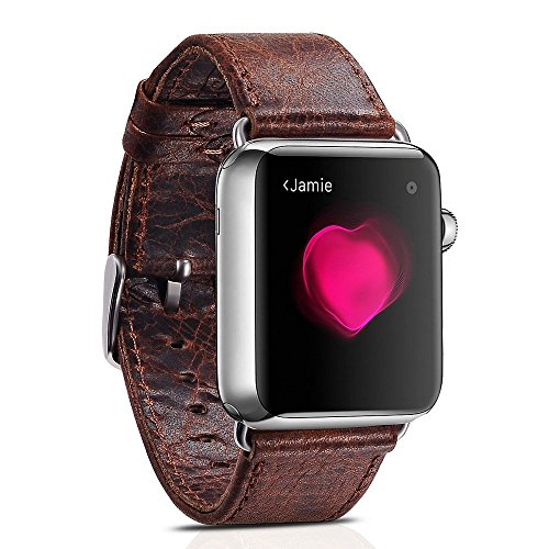 Spritech(TM) Elegance Watchband Replacement,Leather Barcelet Strap Crazy Horse Bands for iWatch Adapters Inluded 42mm Dark Brown