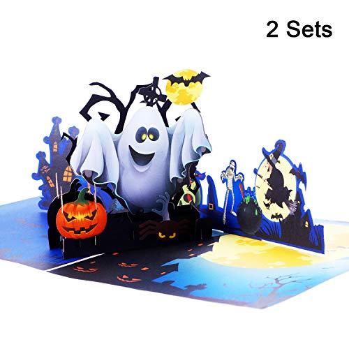 2 Sets 3D Halloween Pop-Up Grußkarte Ghost Kürbis Muster Handgemachte Karte mit Umschlag für Halloween Motto Party, 5.9 x 5.9 Zoll