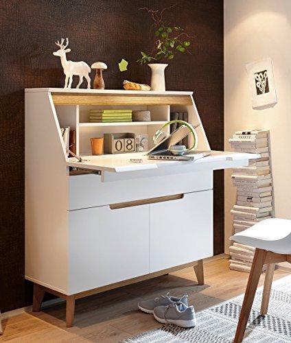 trend-moebel SEKRETÄR Schreibtisch COMPUTERTISCH Home Office BÜRO ASTEICHE GEÖLT Weiss MATT - Home Büro-schreibtisch,
