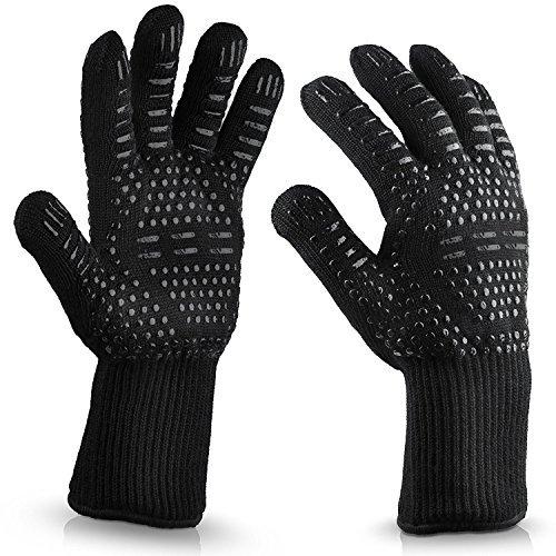 Kyerivs BBQ, extrem hitzebeständige Handschuhe, Schutz bis zu 932 °C, flexibel, sichere Ofenhandschuhe zum Grillen, Kochen, Backen, Black-01
