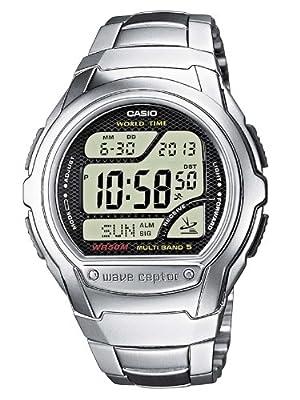 CASIO WV-58DE-1AVEF - Reloj de mujer de cuarzo, correa de acero inoxidable color varios colores (con radio, cronómetro, alarma, luz)