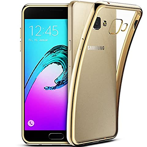 Smartlegend Coque pour Samsung A5 2016 ,Galaxy SM-A510 Etui , Samsung Galaxy A5 2016 Soft Shock Absorb Clear Back Panel Flexible Crystal Metal Electroplating Technology Gel TPU Rubber Transparent Back Cover Ultra Thin Shockproof Anti Slip Smartphone Case -Gold - Samsung Galaxy A5 2016