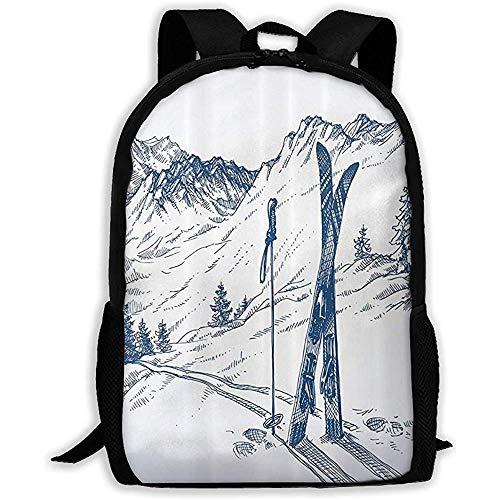 Flüchtige Grafik Einer Abfahrt mit Ski Elements im Schnee entspannen Sich ruhige Unisexschulrucksack-Laptop-Tasche Sport-Reisende Umhängetaschen -