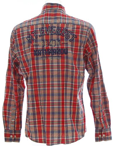 Kitaro -  Camicia Casual  - Polo  - Maniche lunghe  - Uomo Rosso