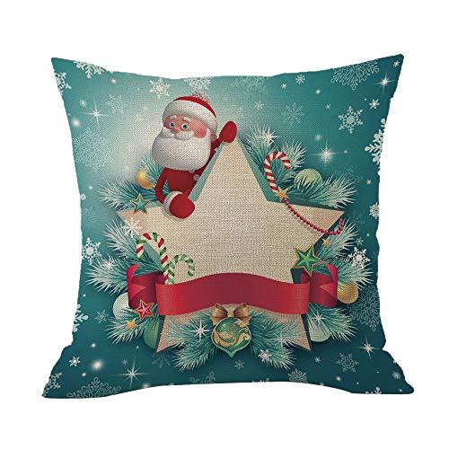 TEBAISE Festival Weihnachten 45x45cm Kissenbezug Merry Christmas bettwäsche deko Kissenbezug Weihnachtsmann Glocke Elf Rentier Rudolph Weihnachtsmann Sofa kissenhuelle Karneval Fasching Fasnacht
