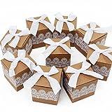 ICEBLUEOR - Lot de 50 boîtes carrées en papier vintage pour bonbons/sucreries/dragées - Boîte cadeau avec dentelle et nœud pour mariage, fête d'anniversaire