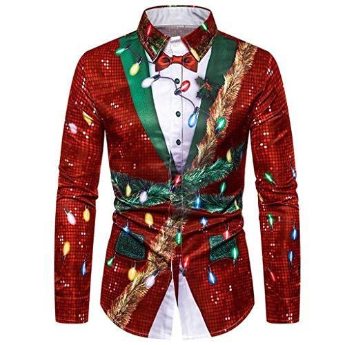 Aoogo Herren Rundhalsausschnitt Langarm T-Shirt Weihnachten Urlaub Humor Pullover Santa Print Sweatshirt Tops Herren Christmas Pulli Lustig Strickpullover Ugly Weihnachtspulli