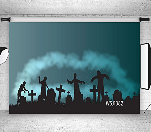 Halloween Party Hintergrund, Friedhof Zombies Mund Wolke 3.0x3.0m Fotografie Kulisse für Foto Hintergründe Dekorationen Studio-Kabine Requisiten WSJ1382