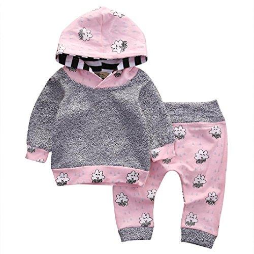 Baby Mädchen Kleider Set Gestreift Karikatur Mit Kapuze Tops + Hosen Outfit (70, Grau) (Strampelanzug Cotton Knit)