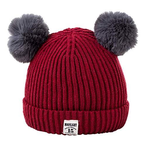 Vanvo Baby Toddler Girls Boys Infant Warm Winter Knit Beanie Hat Crochet Ski Ball Cap (Wine Red) (Knit Crochet Cardigan)