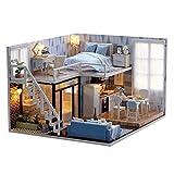 Godbless Puppenhaus 1 Stück Süß Miniatur Haus mit Licht Puppenhaus Bausatz Holz Modell Set Kreativ Geburtstag Weihnachts Geschenk (Blaue Wohnung)