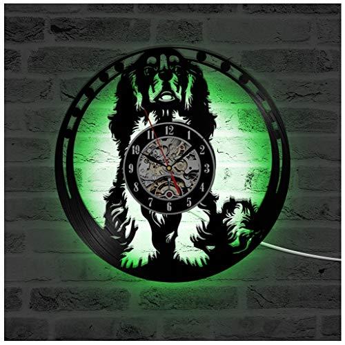 Cavalier King Charles Spaniel Hund HollowVinyl Rekord Wanduhr, LED Leucht Nachtlicht 12 Zoll Schallplatte Uhr Dekoration -